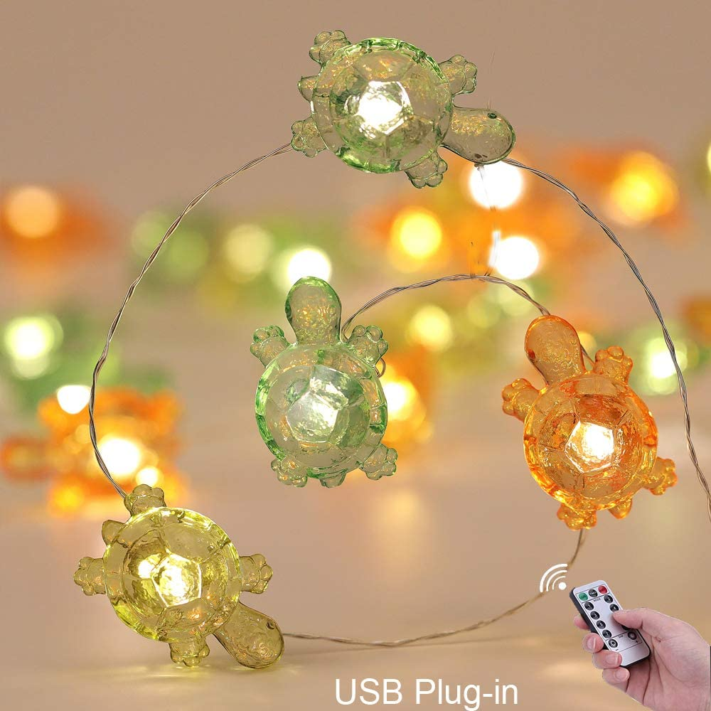 Joyathome Turtle Decorative String Lights 19 Ft 40 LED USB Plug-in 8 Modes Turtle Warm White Twinkle Lights for Holiday Weddings Bedrooms Party Decorations with Remote and Timer
