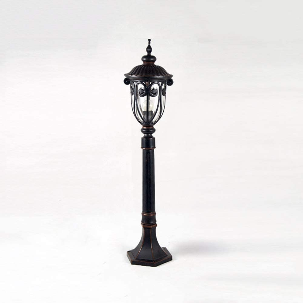 Pinjeer Height 85cm Black IP65 Rainproof Outdoor Lawn Pillar Light American Antique E27 Bubble Glass Lampshade Column Lamp Garden Street Landscape Park Villa Decorative Post Light