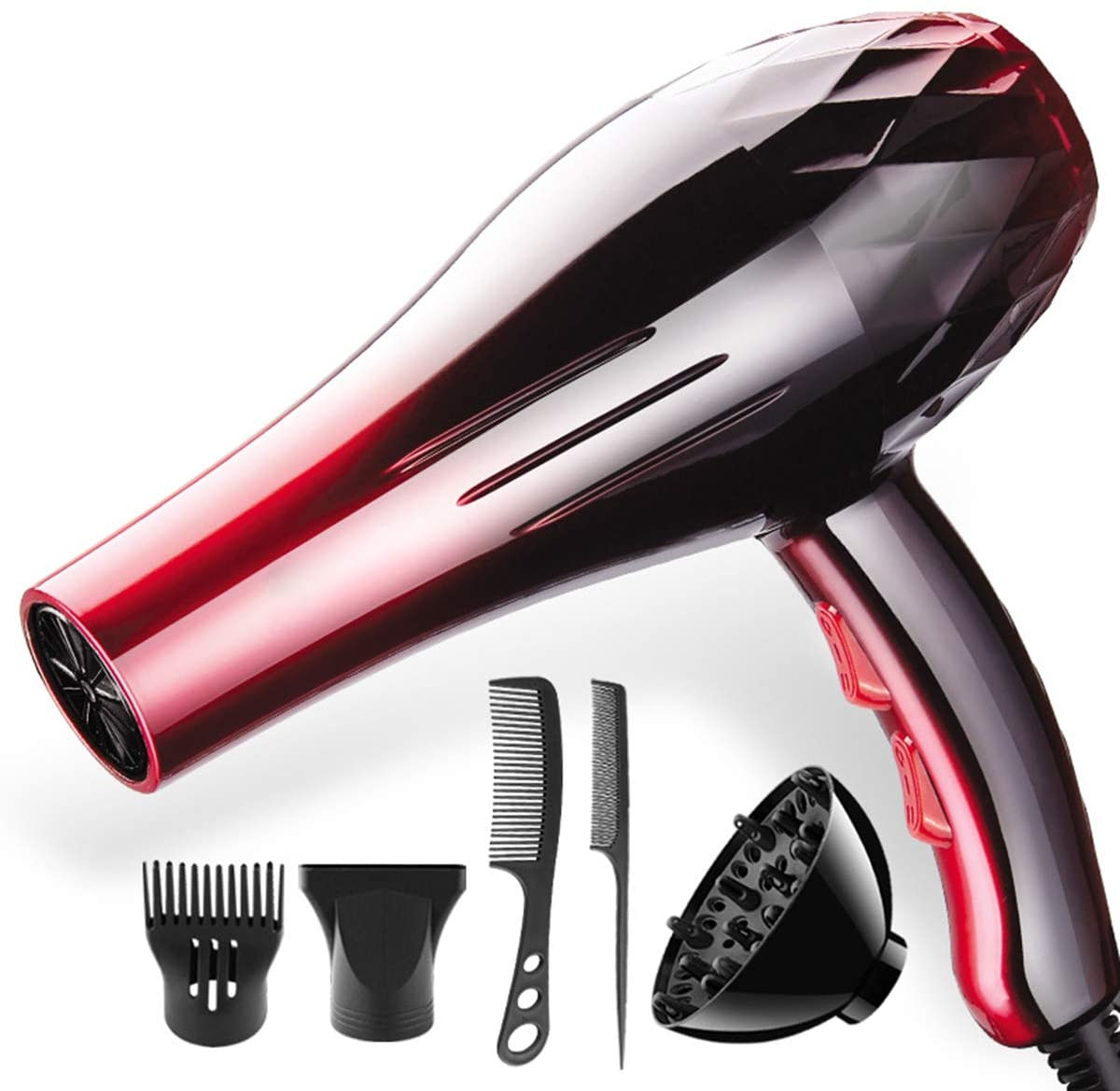 LJ2 2200W Professional Hair Dryer, Blow Dryer Barber Salon Househeld Hot Cold Air Adjustment Hairdryer with 5 Accessories Gift