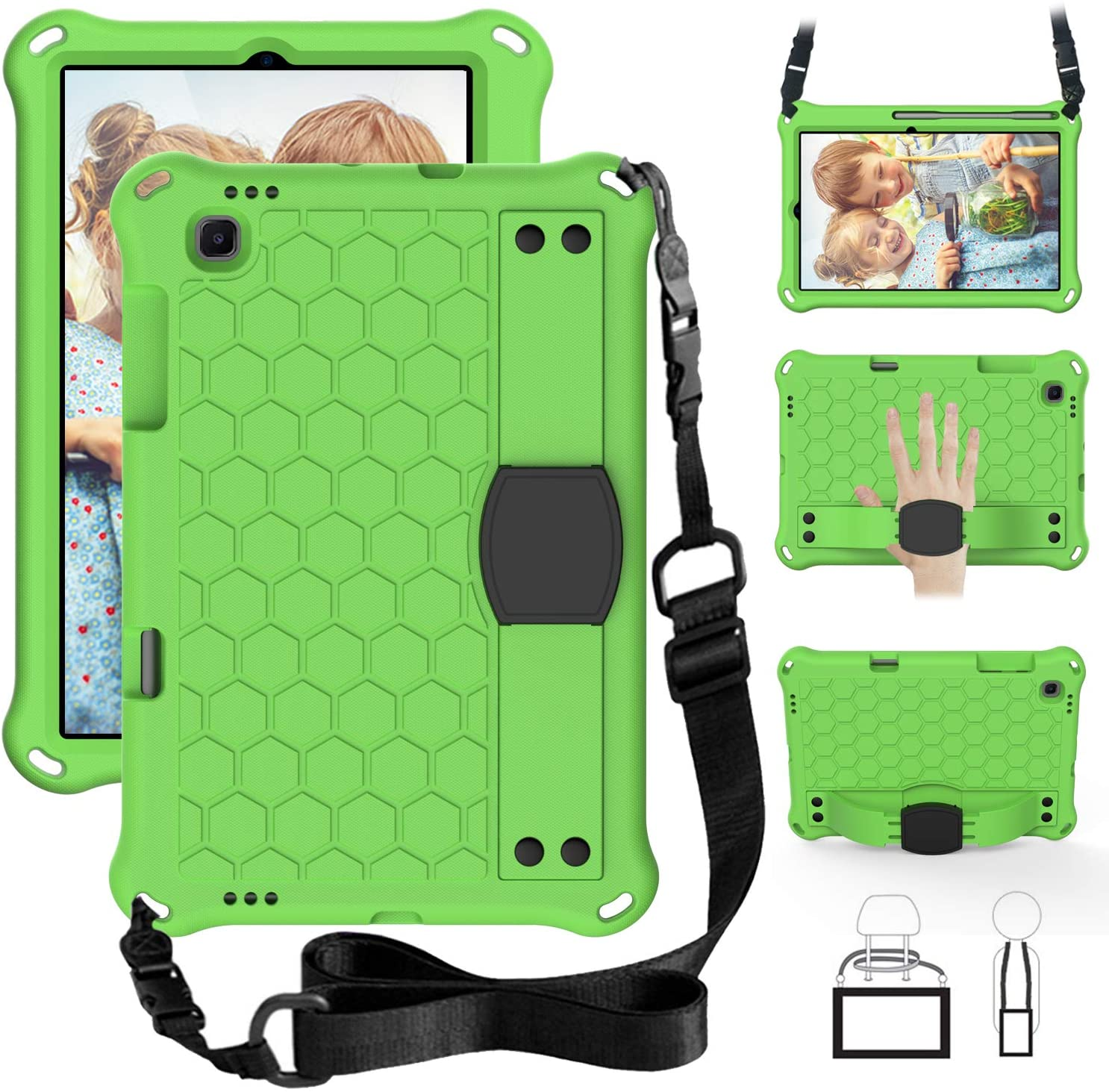 EC-Touch Case for Samsung Galaxy Tab S6 Lite 10.4 2020(SM-P610/P615),Slim Shockproof Impact-Resistant Silicone Stand Smart Cover Case with Hand Strap,Shoulder Strap (Green+Black)