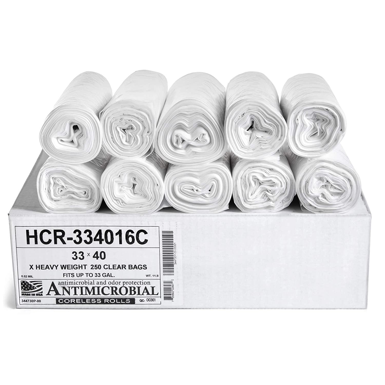 Aluf Plastics 33 Gallon Clear Trash Bags (250 Count) - 33