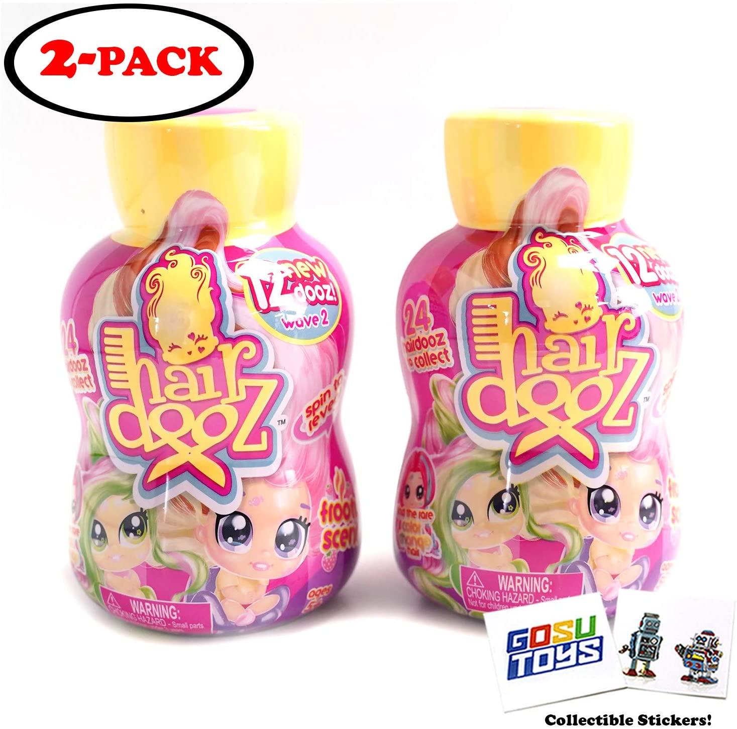 HairDooz Shampoo Bottle Scented Hair Dooz Salon Hairdresser Doll (2 Pack) Wave 2 with 2 GosuToys Stickers