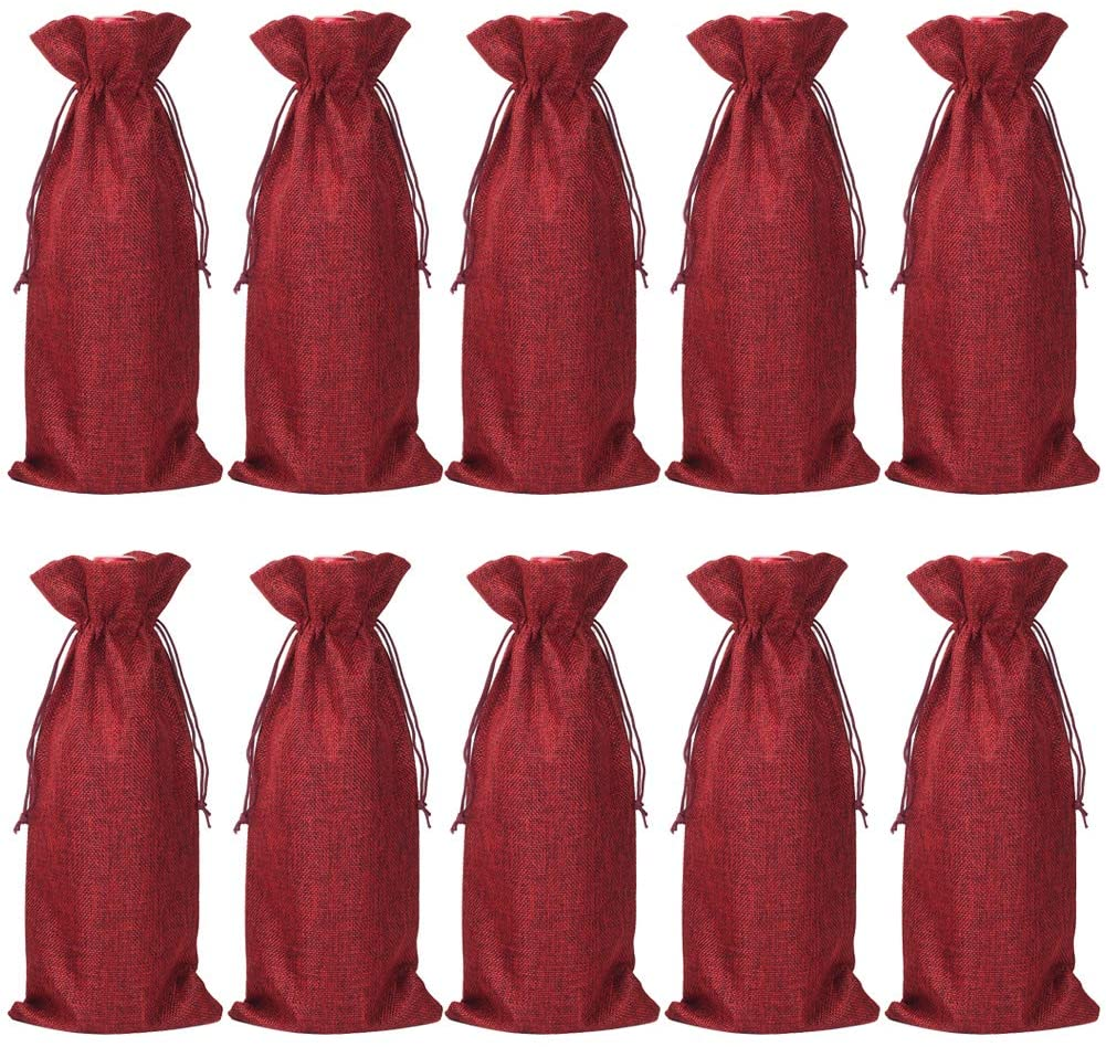 HRX Package Pack of 10 Burlap Wine Bags with Drawstring for Christmas, 14 x 6 1/4 inches (Red)