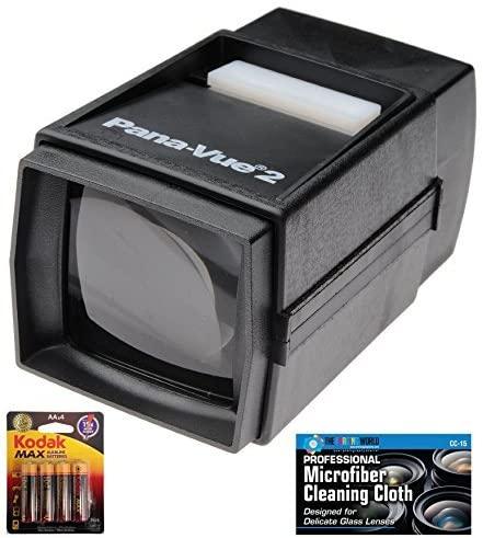 Pana-Vue 2 Illuminated Slide Viewer + AA Batteries + Microfiber Cleaning Cloth