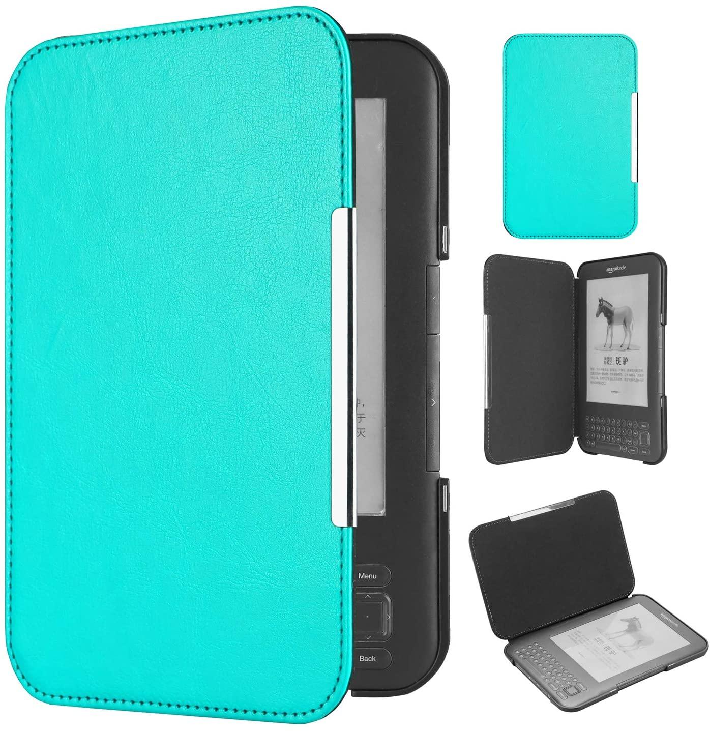 Huasiru PU Leather Case for Kindle 3rd Gen (Keyboard Version), Light Blue
