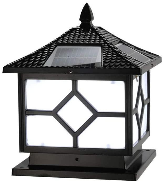 Mpotow Solar Square LED Post Pillar Column Light Black Aluminum Acrylic Super Bright Bollard Light Waterproof IP54 Outdoor Metal Garden Patio Glass Lantern (Color : White Light, Size : L-40cm)