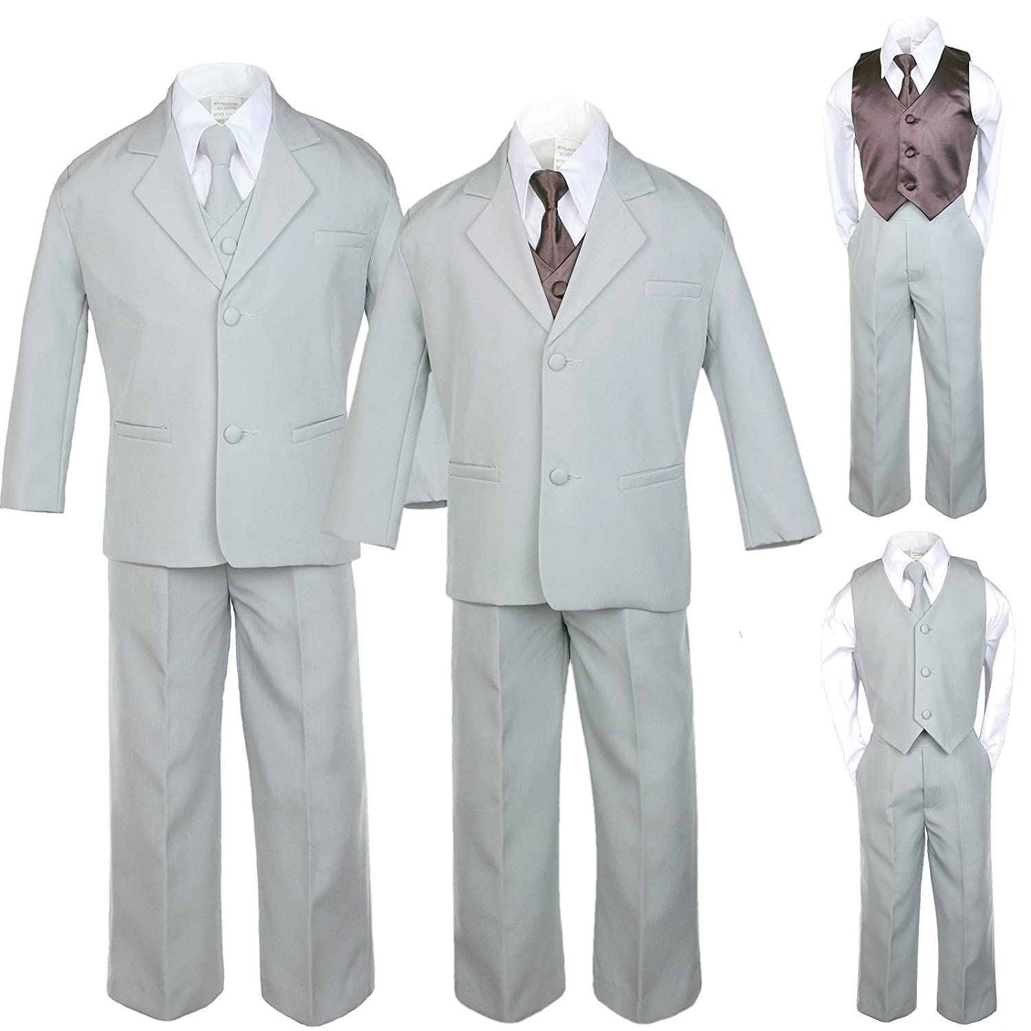 7pc Boys Silver Suit with Satin Brown Vest Set from Baby to Teen (18)