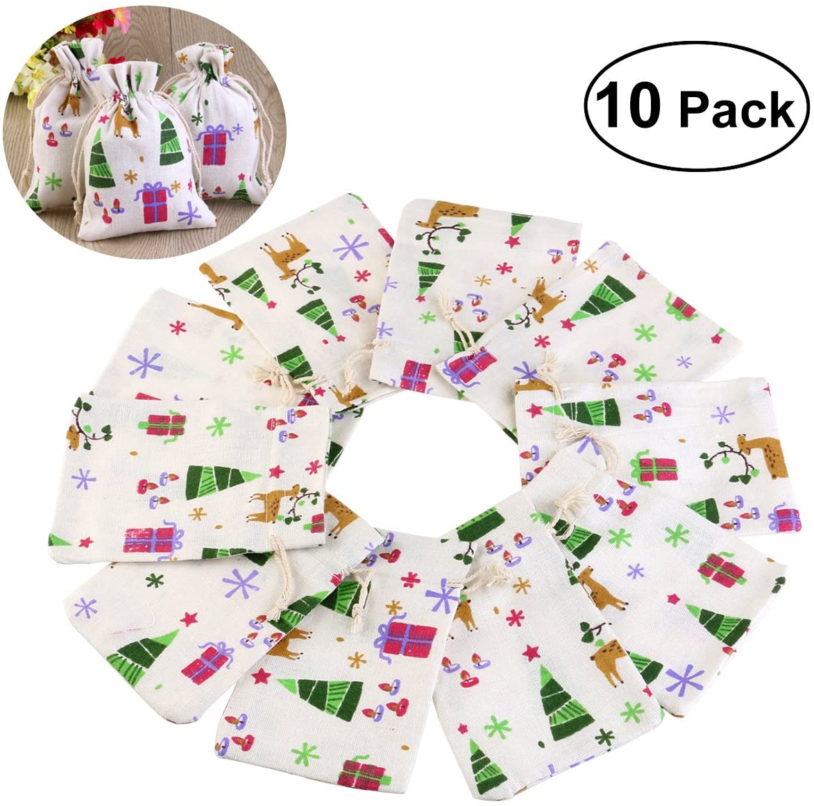 UEETEK Natural Linen Jute Burlap Small Simple Sack Pouch Drawstring Bag Jewery Bag Wedding Favor-Pack 10pcs