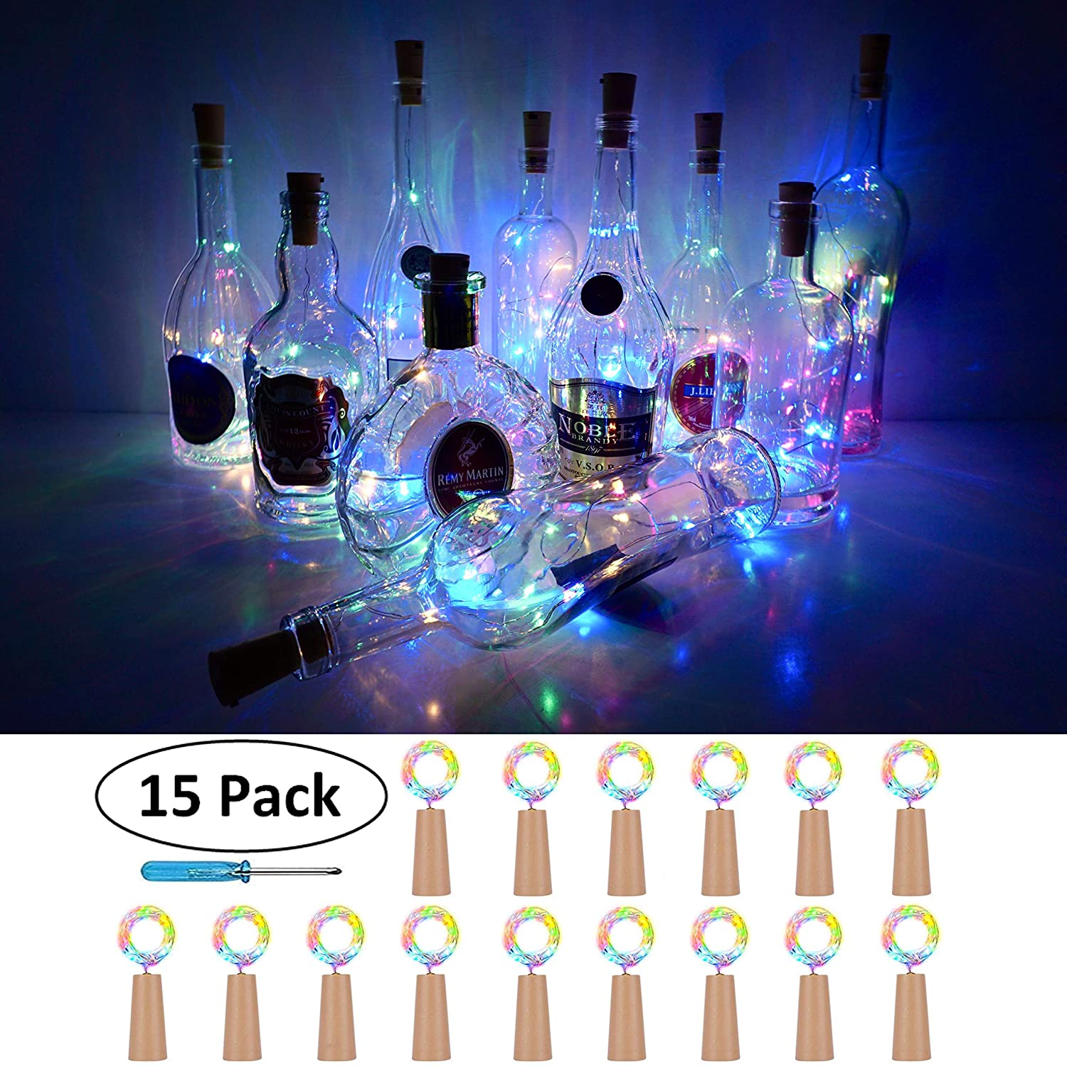 Wine Bottle Cork Lights, 15Pack 10 LED/ 40 Inches Battery Operated Cork Shape Copper Wire Colorful Fairy Mini String Lights for Party Christmas Halloween Wedding,Outdoor Indoor Decoration (Multi-Pink)