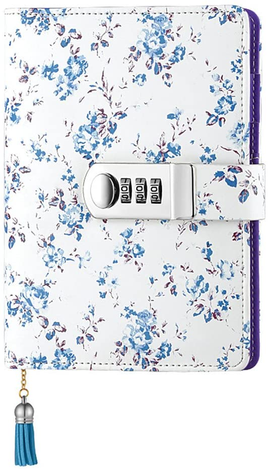 JunShop Floral Password With Lock Diary PU Leather Multi Color Combination Lock Journal (Combination Lock Diary) A6 Refillable Leather Journal/Size:18.5X13.5 CM (Blue)