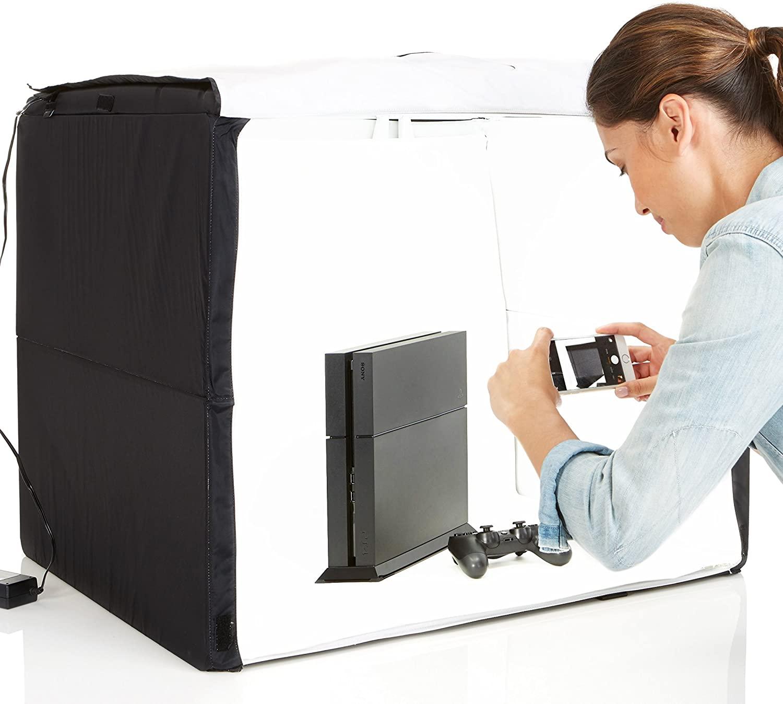 DHgateBasics Portable Foldable Photo Studio Box with LED Light - 25 x 30 x 25 Inches
