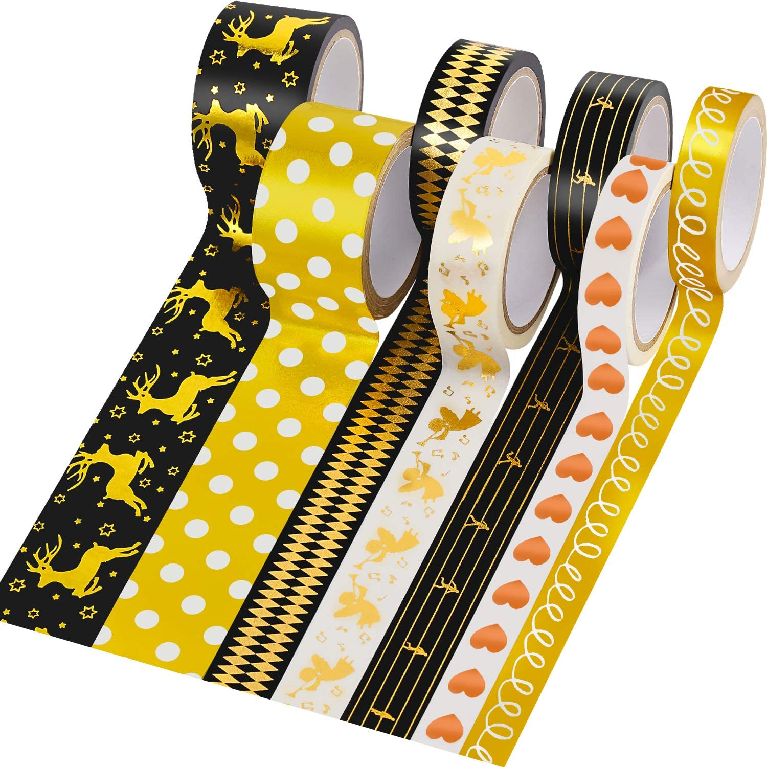 7 Rolls Washi Tape Gold Foil Masking Tape Scrapbooking Decorative Tapes Sticky Adhesive Paper Tape Assorted Print Tape with Lasting Color for Card Making Crafts, Frames Decoration