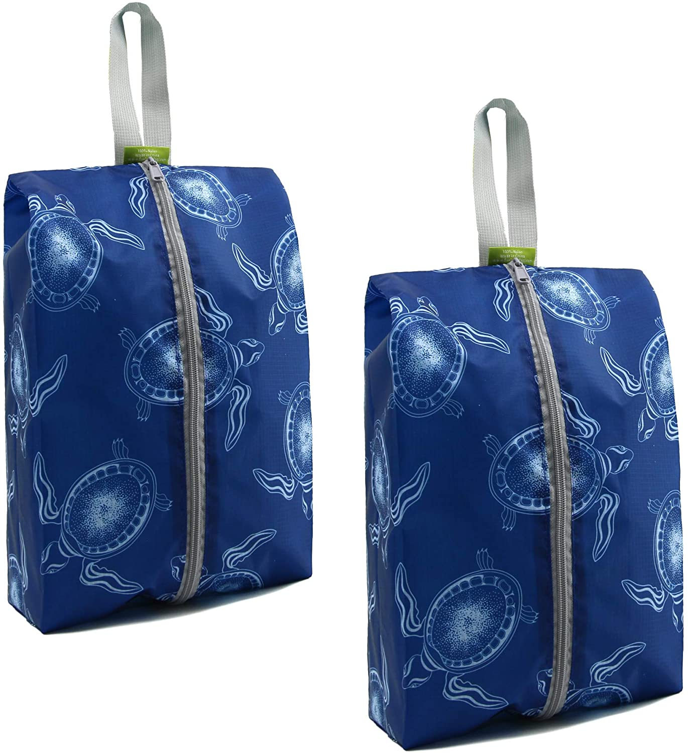 Blue Sea Turtle Travel Shoe Organizer Pouch 2 Pack with Zipper Sturdy Machine Washable Storage Gym Packing Shoe Bags for Women Men Portable Shoe Bags