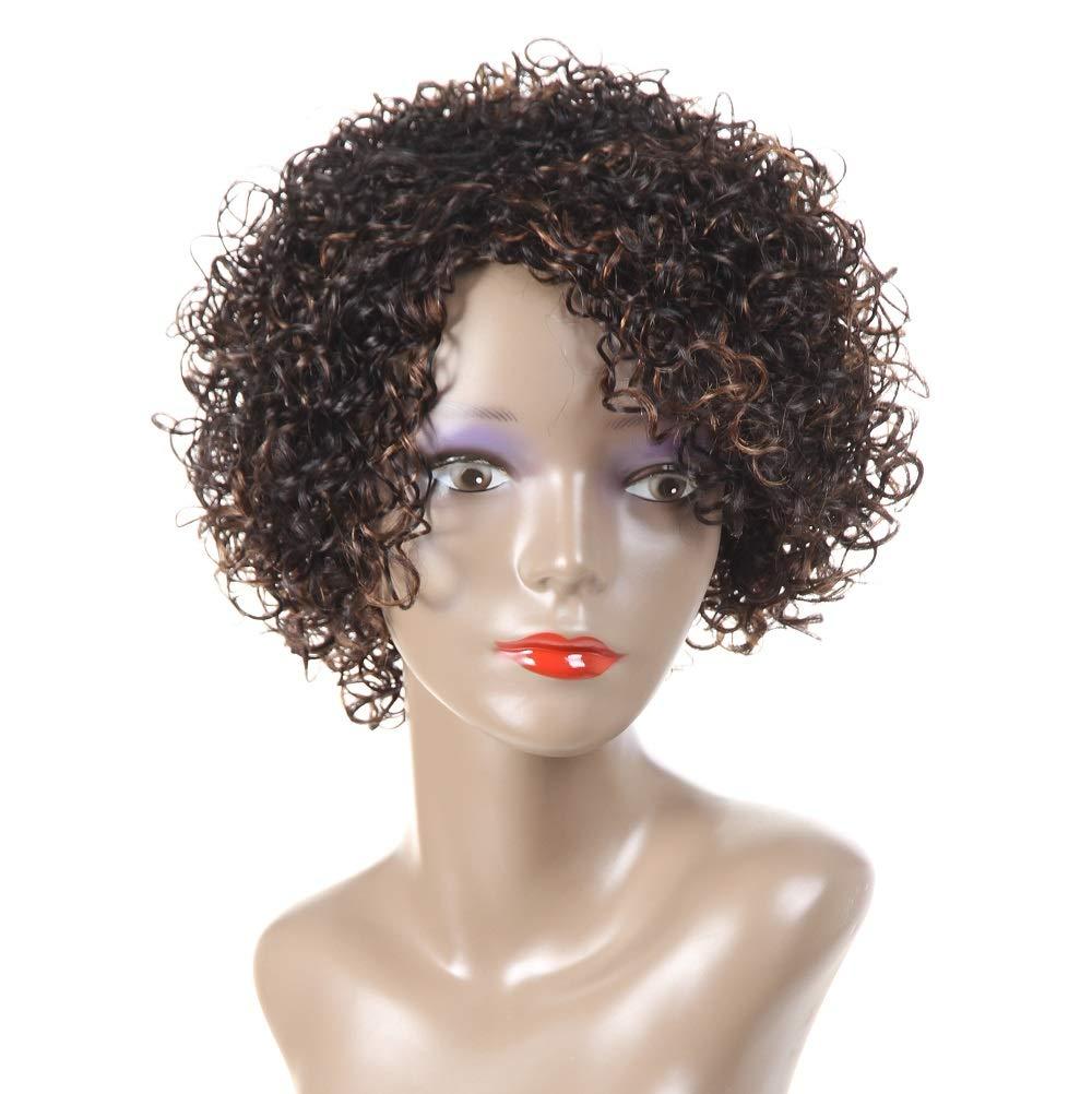 HUA Human Hair Wigs for Black Women 8Inch Short Curly Bob Wigs Brazilian Virgin Hair Deep Curly Colored Wigs Kinky Curly Human Hair Wigs Side Part (WIG 1B/30)