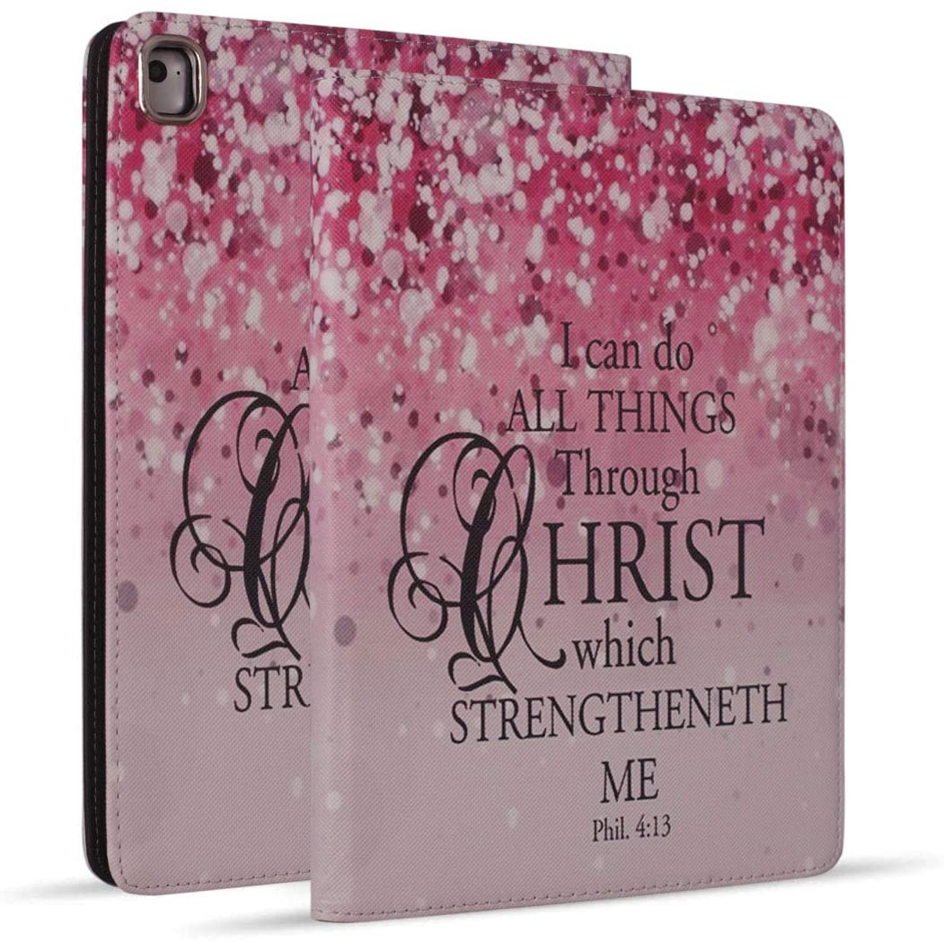 iPad 9.7 2018/2017 Case, iPad Air 2, iPad Air, Pro 9.7 Case, Protective Leather Case, Adjustable Stand Auto Wake/Sleep Smart Case for ipad 6th/5th Gen - Pink Background Bible Verse Quotes Phil 4:13
