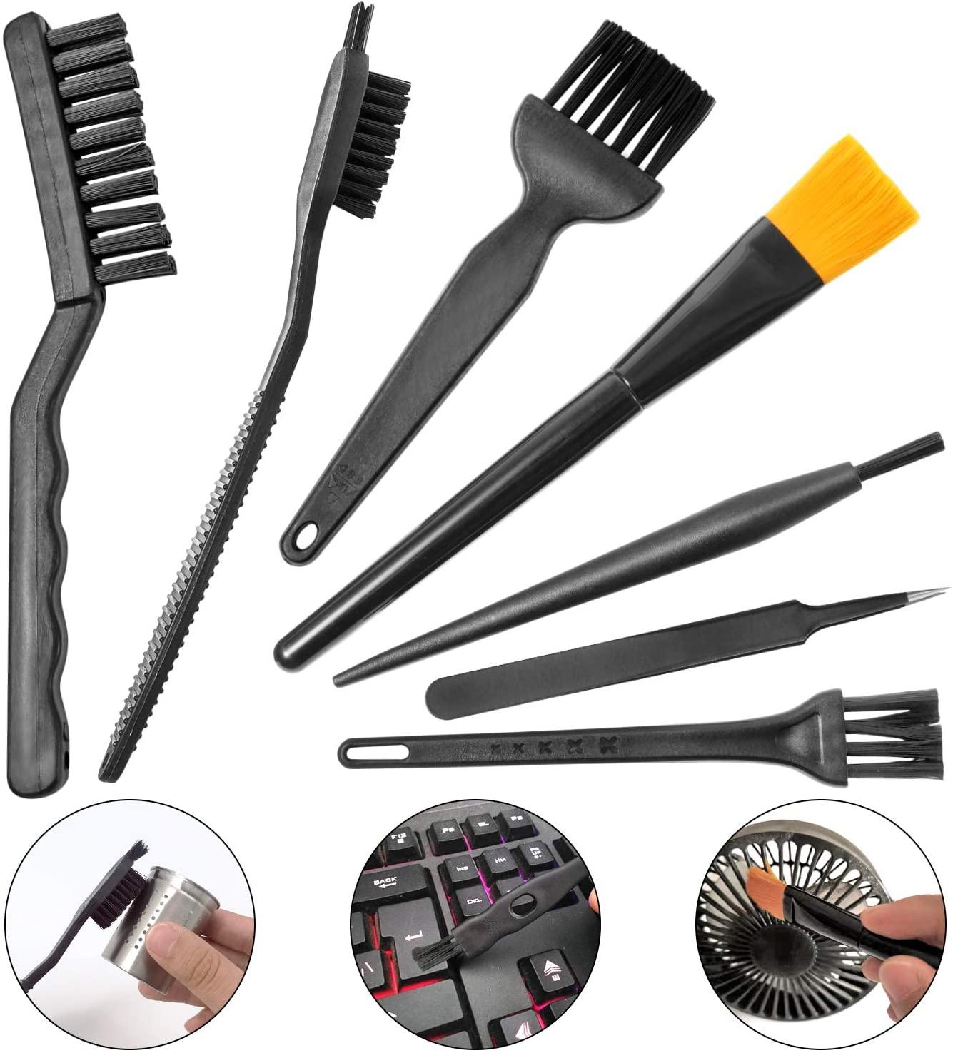 Computer PC Keyboard Laptop Electronics Camera Small Cleaning Brush Kit (Black, Set of 7)