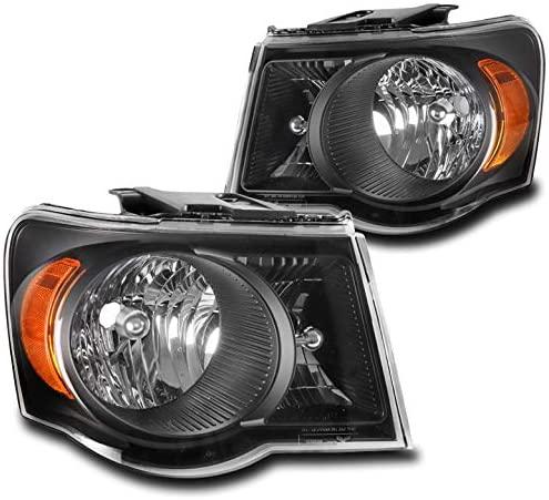 ZMAUTOPARTS Replacement Headlights Headlamps Black For 2007-2009 Chrysler Aspen