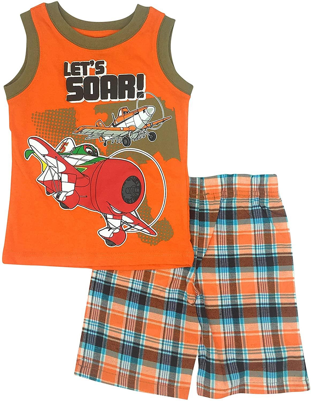 Disney's Planes Let's Soar ! Toddlers Tank Muscle Short Set Sizes 2T-4T (3T) Orange