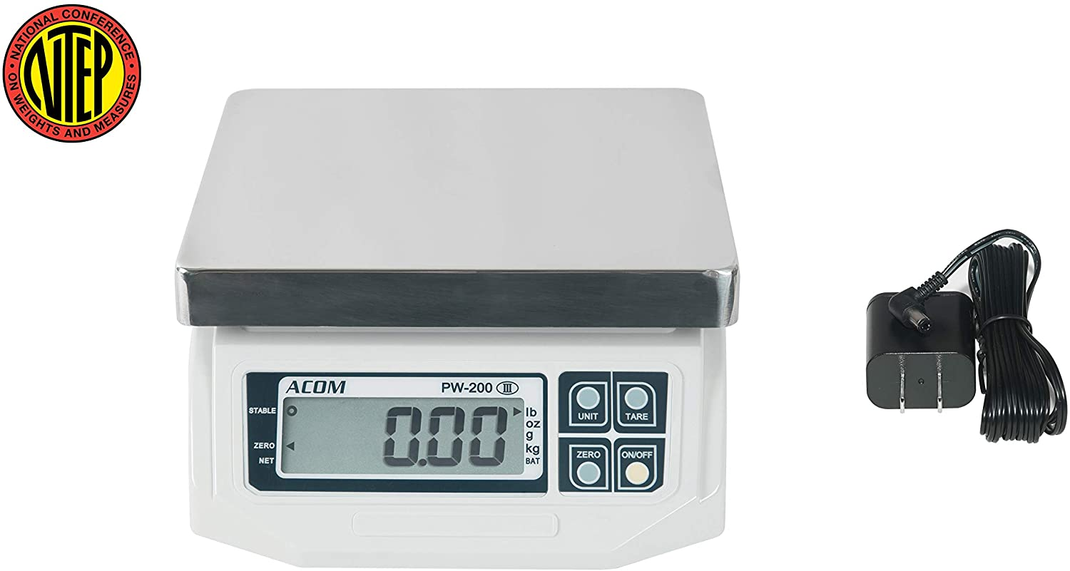 VisionTechShop ACOM PW-200 Digital Portion Control Scale, Dual Display, Lb/Oz/Kg/g Switchable, Low Profile Design, 60lb Capacity, 0.02lb Readability, NTEP Legal for Trade