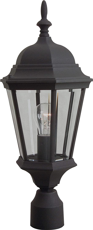 Craftmade Z255-TB Straight Glass Outdoor Post Mount, 1-Light 100 Watt (10W x 22H), Textured Matte Black
