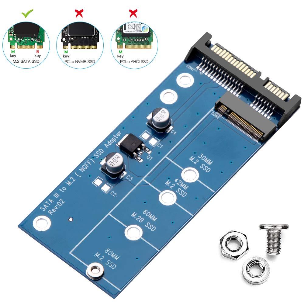 ZEXMTE M.2 SSD to 2.5 inch SATA Adapter Card,SATA III for NGFF M.2 SATA Converter,M2 Hard Drive Adapter,Open-Frame Bracket