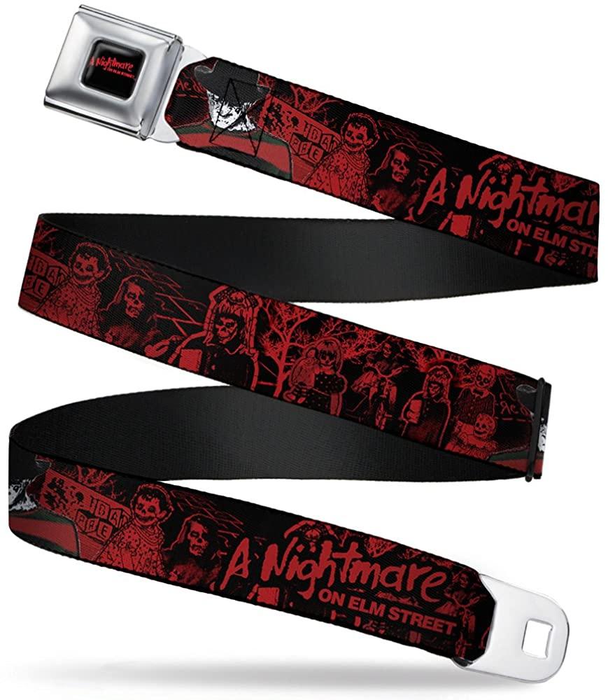 Buckle-Down Seatbelt Belt - A NIGHTMARE ON ELM STREET Freddy Pose/Sketch Black/Red - 1.5