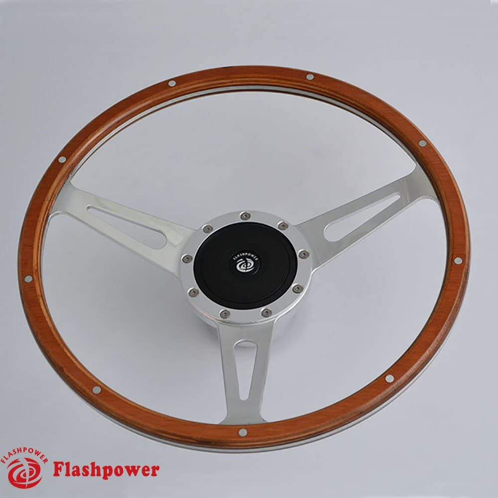16'' Classic Laminated Wood Steering Wheel With Horn Button
