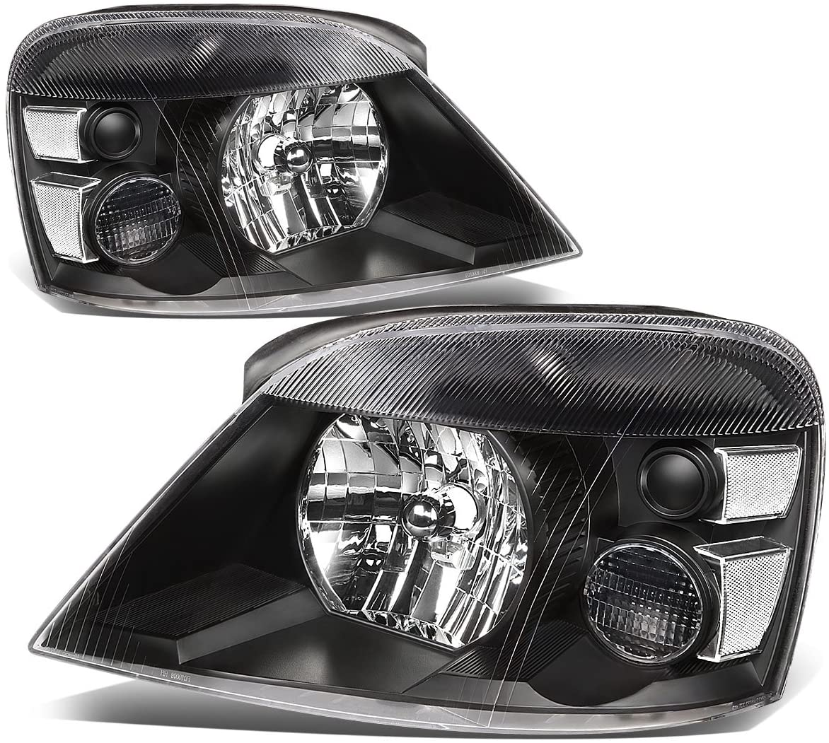 Pair of Black Housing Clear Corner Headlights Assembly Lamps Replacement for Ford Freestar Mercury Monterey 04-07
