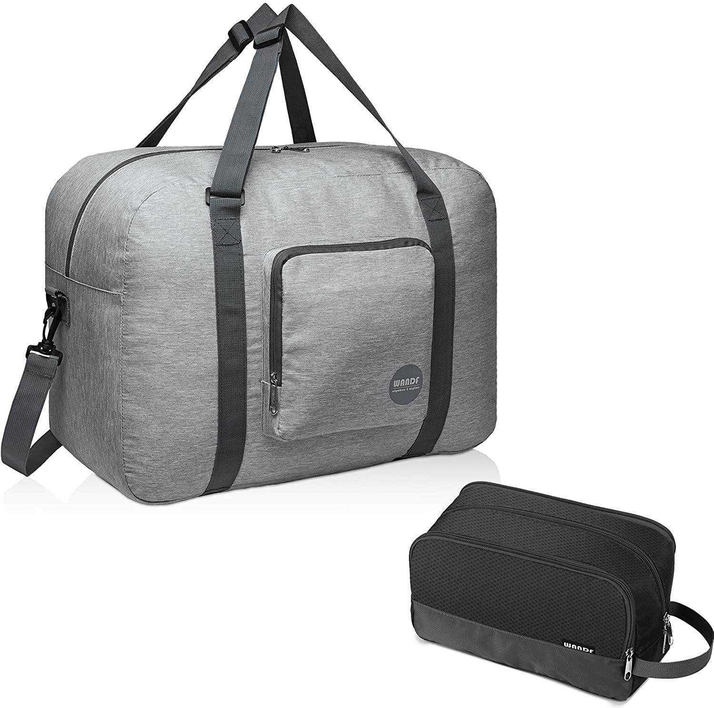 WANDF Travel Bag Bundle with Toiletry Bag| Foldable Travel Duffle Carry on Bag & Toiletry Shaving Bag Lightweight Dopp Kit for Men Women