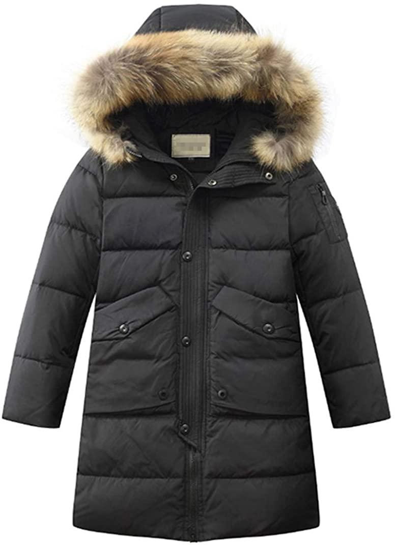 LISUEYNE Big Boys' Hooded Down Coat Mid-Long Winter Puffer Jacket for Kids