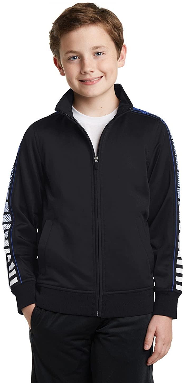Sport-Tek Boys' Dot Sublimation Tricot Track Jacket L Black/True Royal