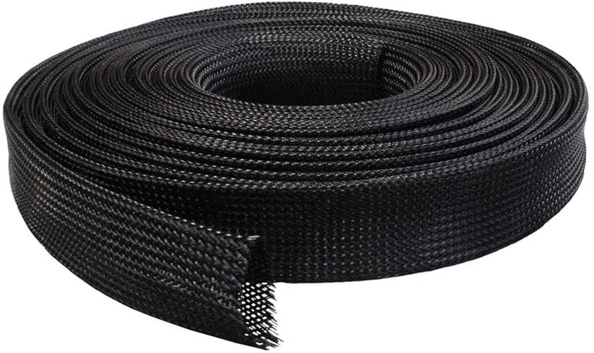Yudesun Wire Management Cable Sleeves - Black PET Nylon Stretch Braided Pipe Protection Harness Sleeve 10m/32.8ft
