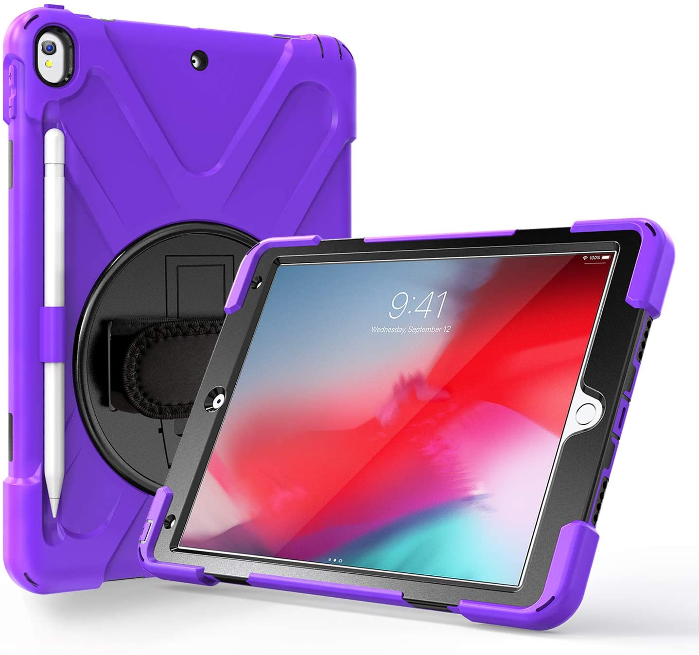 SIBEITU ipad Air 3 Case 2019 with Handle, Full Body Protection Rugged Case Cover with 360 Degree Kickstand, Pencil Holder for iPad Pro 10.5 Case 2017 (A1709/ A1701)-Kids Purple