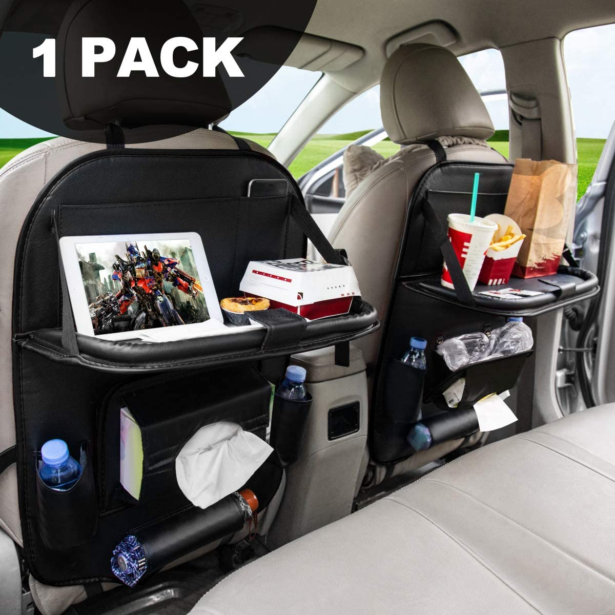 Car Backseat Organizers, Back Seat Organizer with Tray and Storage Leather for Kids Toy Bottle Drink Vehicles Travel AccessoriesFLY Ocean (Black 1 Pack)