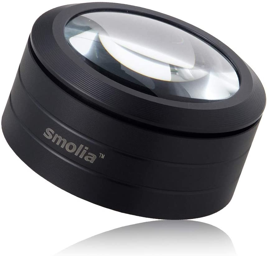 Smolia-L 3X Magnifying Glass with LED Lights, Auto Focus Dome Magnifier Hands-Free Compact Design for Reading, Close Work, Blueprint and More - Black