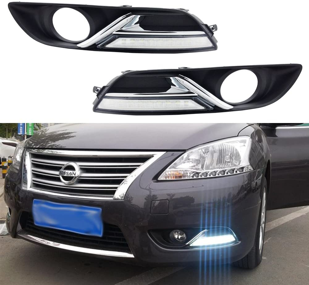 OULONDUN AUTO LIGHT FOR NISSAN SYLPHY 2012 2013 2014 LED daytime running light with yellow turn signal light function (White)