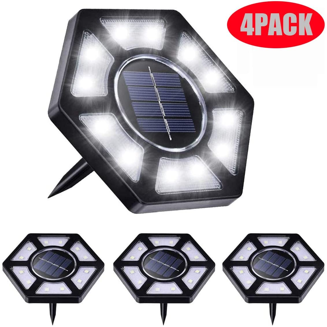 CWWHY 4 Pack Solar Ground Lights, 12 LED Bulbs Solar Powered Disk Lights Solar Garden Lights Outdoor Waterproof Bright In-Ground Lights for Patio Lawn