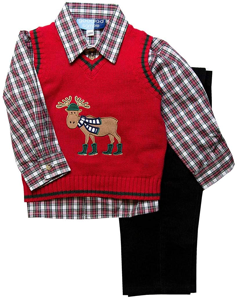 Good Lad Infant Boys Red Sweater Vest Set with Moose Applique