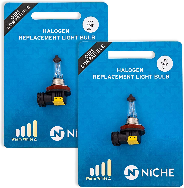 NICHE H8 Headlight Bulb For 2009-2019 Kawasaki Vulcan 1700 Suzuki RMX450Z Motorcycles High Beam Warm White 2 Pack
