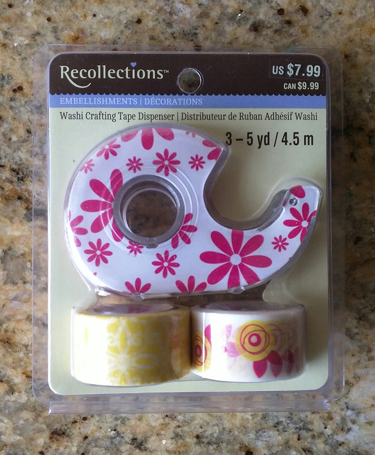 Recollections Washi Crafting Tape - Yellow and Pink