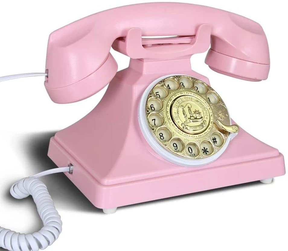 ZYC Lovely Retro Telephone Indoor Home Office Hotel Cafe Decoration Antique Landline (Color : Pink)