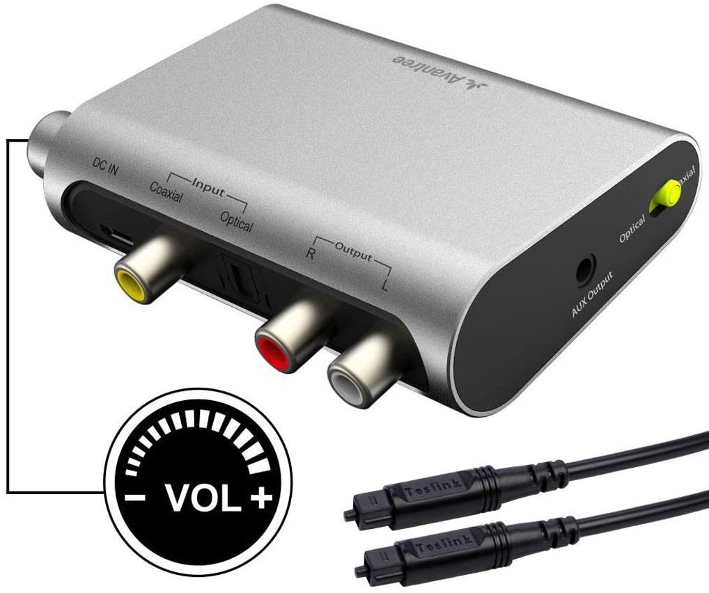 Avantree DAC Digital to Analog Audio Converter with Toslink Optical Cable, Volume Control, 192KHz, SPDIF to Stereo L/R RCA 3.5mm Adapter for PS4 PS3 Xbox HD DVD Home Cinema Systems AV Amps Apple TV