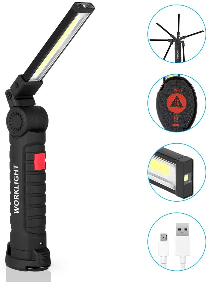 CHICIRIS COB Work Light LED 800LM Ultra Bright, USB Rechargeable Inspection Portable Lamp with Magnetic Base, 5 Lighting Modes 6000K Lantern for Auto, Garage, Workshop, DIY, Outdoor Camping