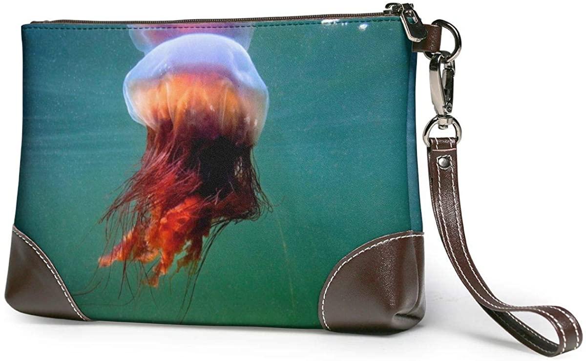 Giant Jellyfish Leather Wristlet Clutch Wallet Smartphone Zipper Clutch Purse Leather Passport Wallet Handbag