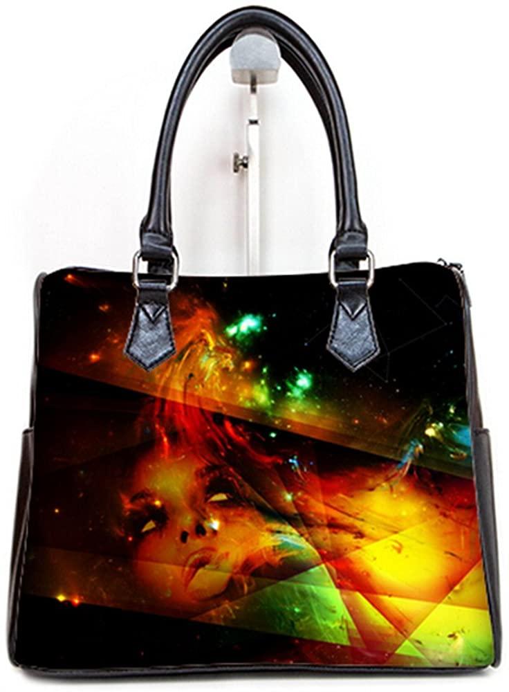 Fashionable Female Women Barrel Type Handbags Pouch Abstract Art Pattern
