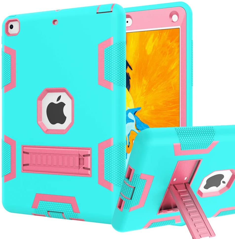 iPad 9.7 Case,iPad 2018/2017 Case,iPad 6th/5th Generation Case High Impact Hybrid Drop Proof Armor Defender Protection Case Built with Kickstand for New iPad 9.7-inch (A1893/1954/A1822)(Teal+Rose)