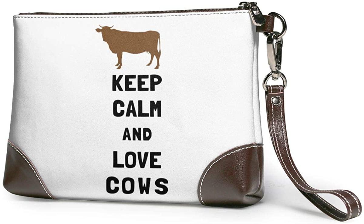 Keep Calm And Love Cows. Leather Clutch Fashion Handbag Phone Wristlet Purse
