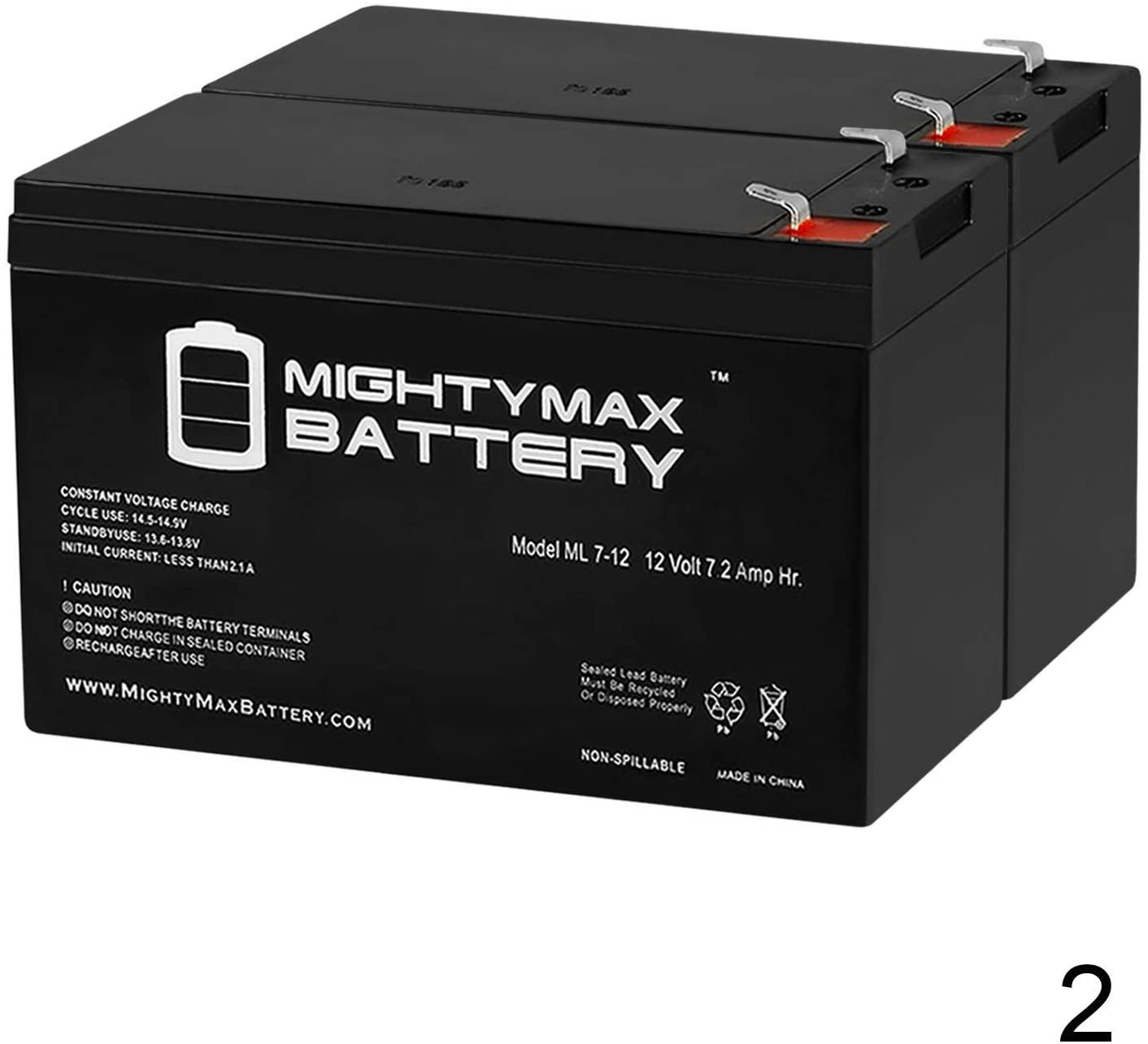 Mighty Max Battery 12V 7.2AH Battery for Razor Rebellion Electric Chopper - 2 Pack Brand Product