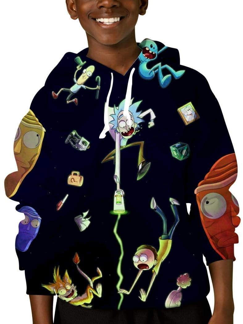 Mmm fight Youth Tops Hooded Rick-Morty Hoodies Novelty Sweatshirt for Kids/Boys/Girls