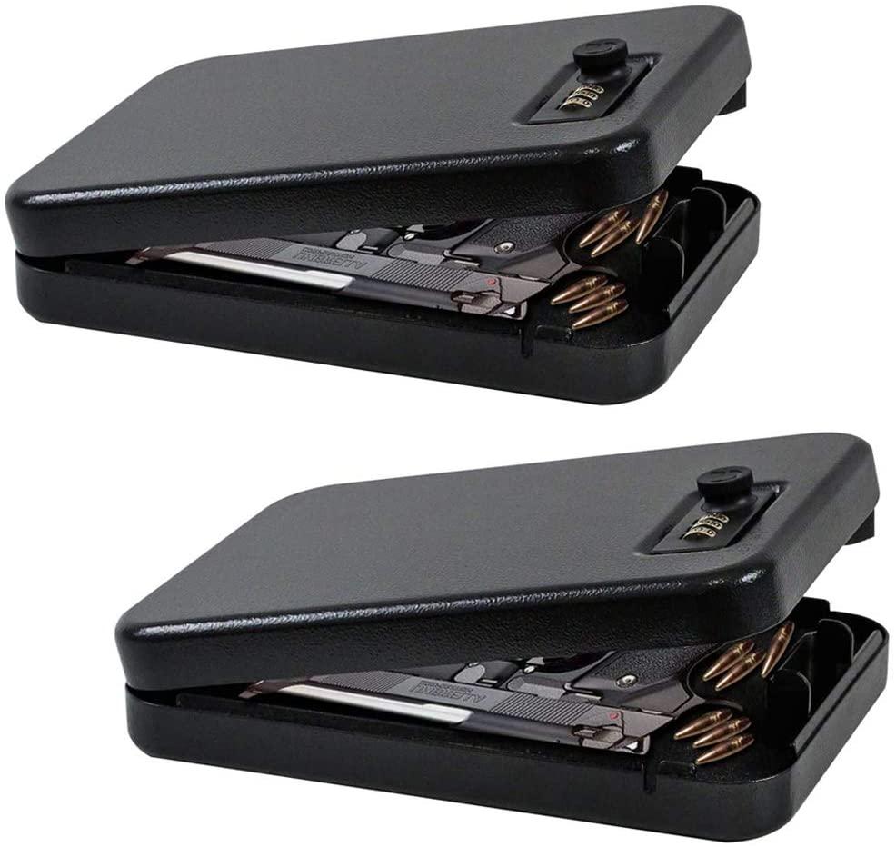 JUGREAT Portable Gun Safe with 3 Digits Combination Lock,Portable Pistol Metal Lock Box Case for Handgun(2 Pack)
